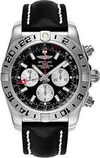 AB0413B9/BD17-442X   NEW BREITLING CHRONOMAT GMT STEEL MENS WATCH ON BLACK STRAP