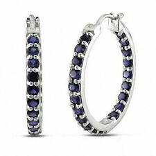 0.50 Ct Round Cut Blue Sapphire Inside-Out Hoop Earrings 14k White Gold Finish