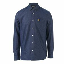 Men's Lyle And Scott Button Down Collar Brushed Twill Cotton Shirt in Blue