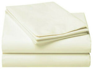 Off White Single Queen King Size Bed Fitted Sheet Pillowcases Set Cotton Blend
