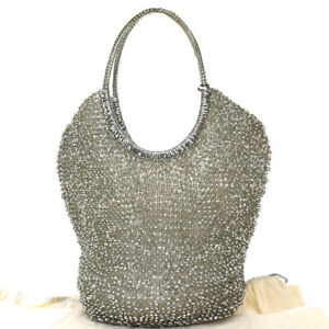 Authentic ANTEPRIMA Rhinestone Hand Bag Vinyl Wire Silver Plated 04MG639