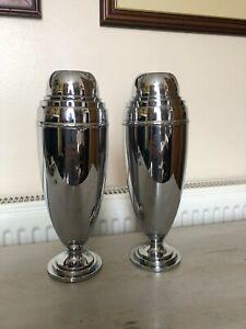 2 x Chrome Vases Urns