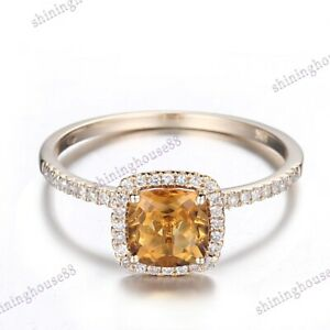 6x6mm Cushion Citrine Real SI Diamonds 14K Yellow Gold Engagement Fine Halo Ring