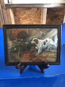 VINTAGE ANTIQUE EARLY HUNTING DOG POINTER PAINTING LITHO RARE  FRAMED