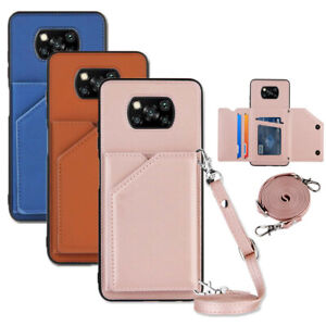 Case for Xiaomi Poco X3 NFC M3 Redmi 9A Lanyard Shoulder Strap Wallet Card Cover