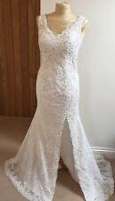 White Lace Diamonte Couture Wedding Dress Sz 12 Thigh Split Train Diamante