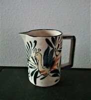 "Vintage Art Pottery Hand Painted Peacock Pitcher, Made in Japan, 4 3/4"" Tall."