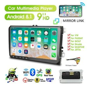 9 2 DIN Autoradio Android 8.1 GPS WiFi HD Stereo Quad-Core Pour VW
