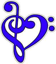 "Music Note Heart Piano Guitar Car Bumper Window Vinyl Sticker Decal 4""X5"""
