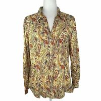 Sundance Paisley Floral Button Front Shirt Blouse Women's Size 16 M Collared Top