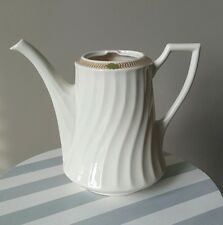 Syracuse China Champlain Gold S Ring Green Leaves Swirl Rim Coffee Pot no Lid