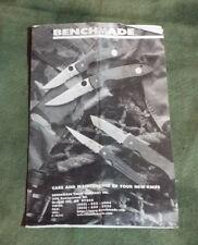 Benchmade Knives Care & Maintenance Pamphlet