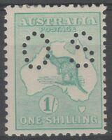 Australia 1913 Kangaroo 1/- Emerald 1st wmk, perf Small OS  (OCT25)