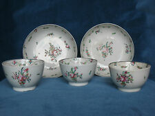 5 Pieces New Hall Tea Bowls and Saucers Pattern 241 c.1795