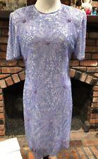 Laurence Kazar 80s Periwinkle Beaded Cocktail Dress Petite L Women Vintage
