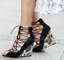 ZARA en Cuir Véritable Talon Compensé Bride Cheville Sandales Chaussures Taille UK 6 EU 39 US 8