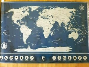 JACK SCRATCHER LARGE SCRATCHABLE WORLD MAP WITH 14 WONDERS 37X24 INCHES!!!