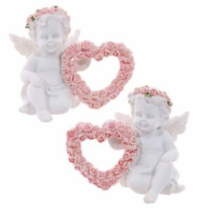 2 x Cute Collectable Cherub Figurines with Pink Rose Heart Home Decoration Gift
