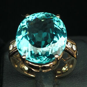 AQUAMARINE AQUA BLUE OVAL 22.10 CT. 925 STERLING SILVER ROSE GOLD RING SZ 6.75