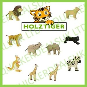 Holztiger Handmade Collectable Painted Wooden Jungle Safari Animal Toy Figurines