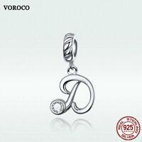 Voroco S925 Sterling Silver Letter  D Pendant Bead Charm CZ To Necklace Bracelet