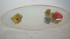 Vtg Long Oval Glass Relish Condiment Tray Candy Dish Poppy Flowers Gold Edge