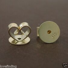 Genuine 9CT Solid Yellow Gold Disc Butterfly Earring Backs 8mm - 1 Pair