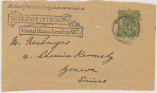 2401 W.H.SMITH Advertising GV ½D green stamped to order postal stationery wrappe