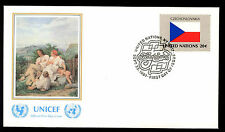United Nations 1980 Czechoslovakia Flag UNICEF FDC Cover #C11516