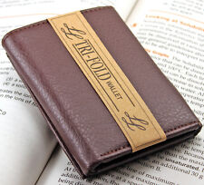 Mens Leather Trifold Burgundy Wallet Credit Card Window ID Holder Billfold Money