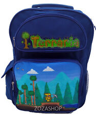 "Terraria 16"" Blue Large School Roller Backpack Rolling Bag Boy Backpack"