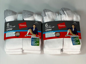 Hanes Mens Over-The-Calf Cushioned Crew Socks ComfortBlend® Lg White 12-Pairs