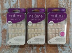 Lot of 3 Nailene Fake Nail Studio Short Pretty French Manicure Kit 71250