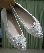 New Rhinestone Women Ivory Flat Shoes Flower Bride Wedding Shoes Plus Size US9.5