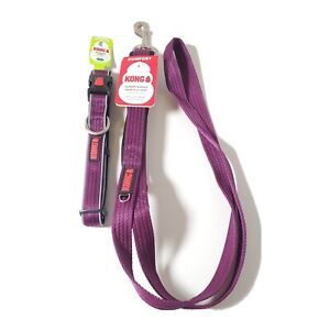 KONG Comfort Padded Handle Traffic Leash with Matching Padded Collar Purple 6ft