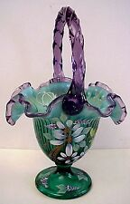 Fenton Glass Spruce Green Opalescent Basket Violet Crest QVC 12 Family Signature
