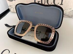 GUCCI 470461 Pink Crystal 100% UVA und UVB Gold Tone Sonnenbrillen NEU BOX