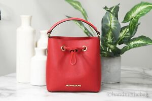 Michael Kors Suri Small Leather Bucket Flame Red Crossbody Hand Bag Purse