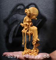 """7"""" China Natural Boxwood Carve Beauty Peri Moon Goddess Chang'e Rabbit Statue"""
