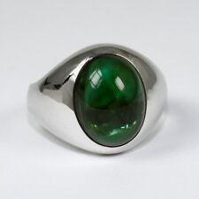 Klassischer Ring mit schönem Turmalin-Cabochon, Weissgold 585, 8,8 Gramm