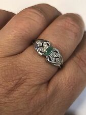 Signed RJ Green Chrysoprase Oval Stone Sterling Silver Ring