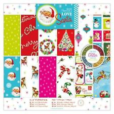 36 x Papermania Love Santa 15.2cm /6 In Printed Papers With Glitter Sheets Pack