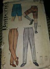 Vintage 1950s Butterick 8813 Mens Bermuda Shorts Pattern Waist 40 CUT POOR COVER