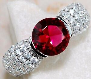 2CT Ruby & White Topaz 925 Solid Sterling Silver Ring Jewelry Sz 7, M4