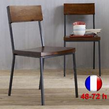 Chaise HOL Bois Métal Design Luxe Loft Industriel Retro Vintage