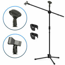 Microphone Stand, Adjustable Collapsible Tripod Boom Mic Stands with 2 Mic Clip