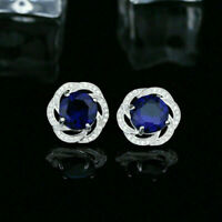 14K White Gold Over 2Ct Round Cut Gorgeous Blue Sapphire Cluster Stud Earrings