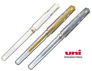 Uniball Signo Broad Rollerball Gel Pen UM-153: White, Gold and Silver pen set