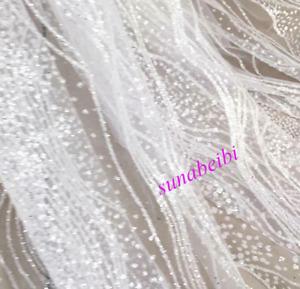 Silver Shiny Embroidery Mesh Dress Wedding Handmade Diy Fabric Clothing Fabric