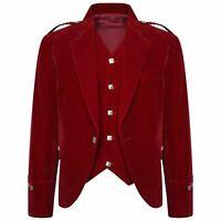 Cheap Men's Red Velvet Scottish Highland Argyle kilt Jacket & Vest Custom Made
